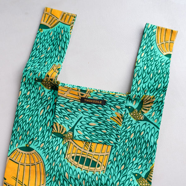 Spring Bird Dutch Wax Pocketable Shopping Bag