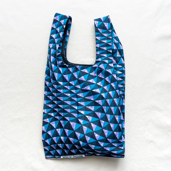 Ocean Winds African Wax Print Pocketable Shopping Bag