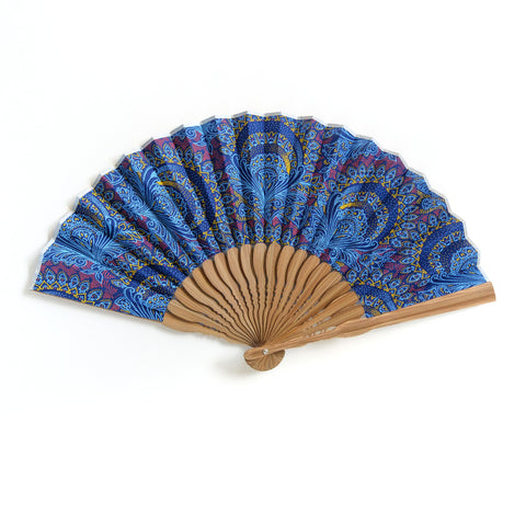 Blue Paisley Shweshwe x Japanese Fan