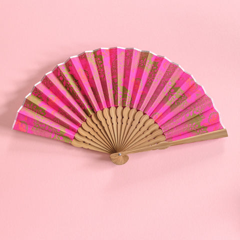 Pink Flower Shweshwe x Japanese Fan