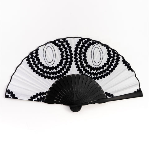 Black and White West African Wax Print x Japanese Fan