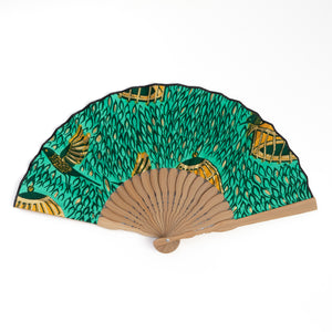 Spring Bird African Wax Print x Japanese Fan