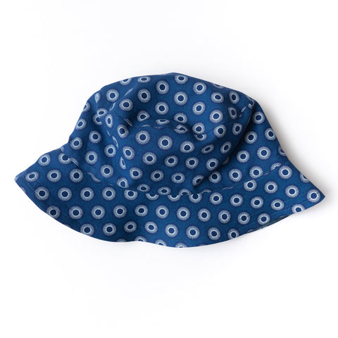 Blue Dots Shweshwe Bucket Hat