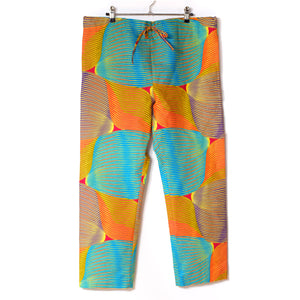 Colour Brush Stroke Wax Print Drawstring Long Pants for Lady