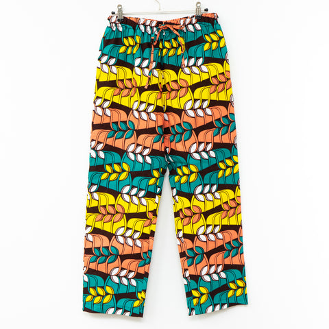 Jungle Song African Wax Print Drawstring Long Pants
