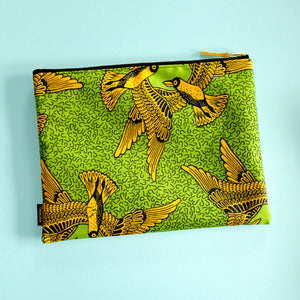 Bird Wax Print Pouch