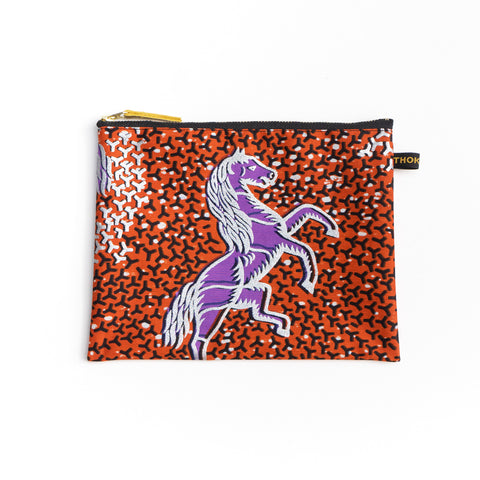 Horse Dutch Wax Print Pouch (M size)