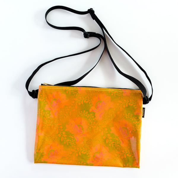 Neon Orange Shweshwe PVC Shoulder Bag