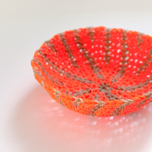 Crochet Hemp Feather Bowl