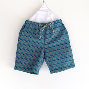 Neon Geometric Shweshwe Shorts for Kids