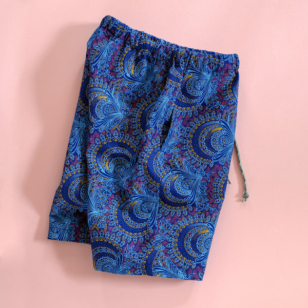 Blue Paisely Shweshwe Shorts for Kids