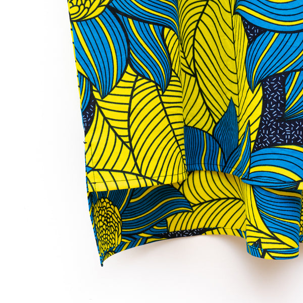 Play Yellow and Blue African Wax Print Dress