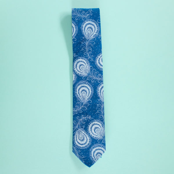 Indigo Feather Shweshwe Tie