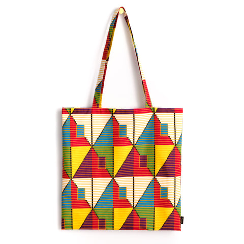 African Oxford Block Wax Tote アフリカンプリントトートバッグ