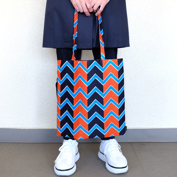 African Zig-Zag Print Tote アフリカンジグザグプリントトートバッグ