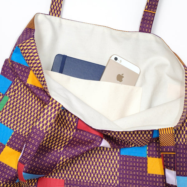 African Oxford Block Wax Tote アフリカンオックスフォードワックストートバッグ