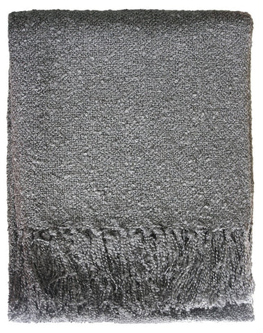 THROW Acrylic Boucle Yarn Throw - Gunmetal 130x150cm