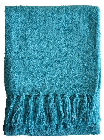 THROW Acrylic Boucle Yarn Throw - Peacock 130x150cm