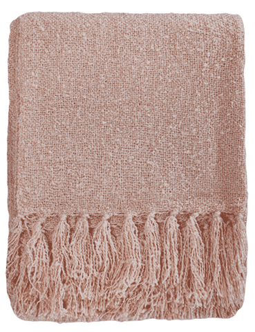 THROW Acrylic Boucle Yarn Throw - Dusky Pink 130x150cm