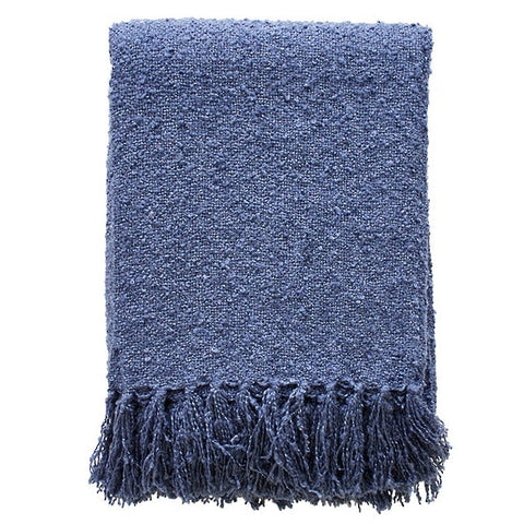THROW Acrylic Boucle Yarn Throw - Storm Blue (Navy) 130x150cm