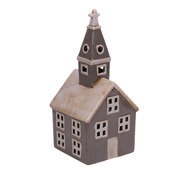 A TEA LIGHT HOUSE GREY CHURCH YA 009