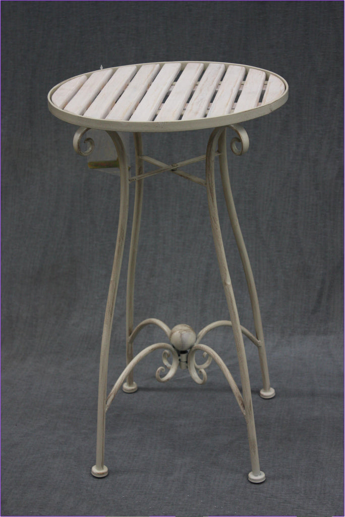 Round Cream Iron Side Table
