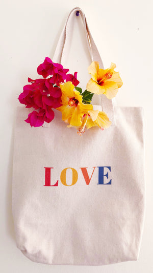 Cotton Reusable Grocery Tote Bag Love Gift Idea