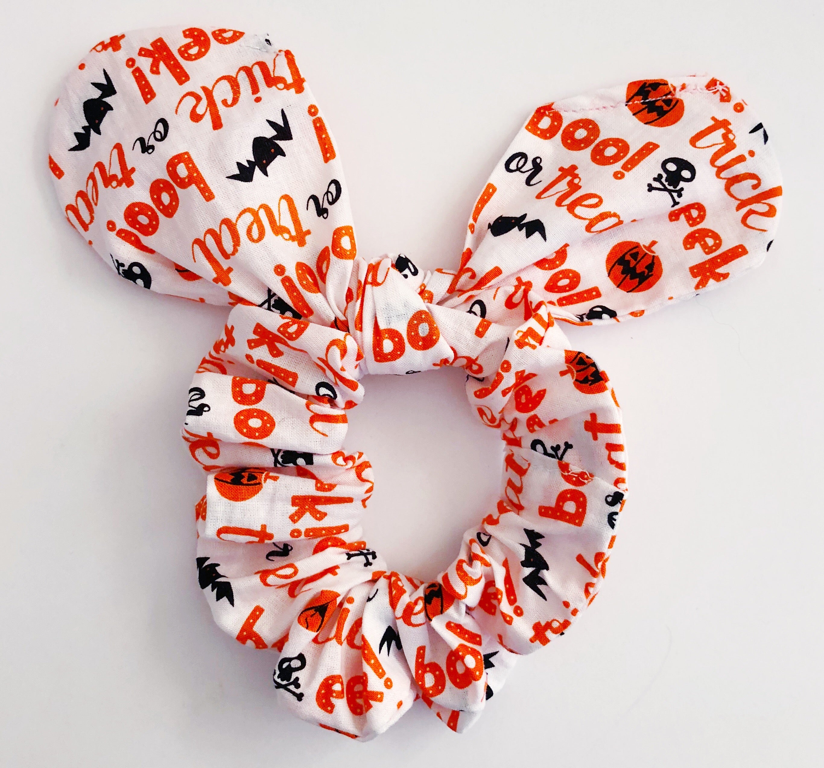 Womens Halloween Scrunchie with Bunny Ears Not Scary Non Violent