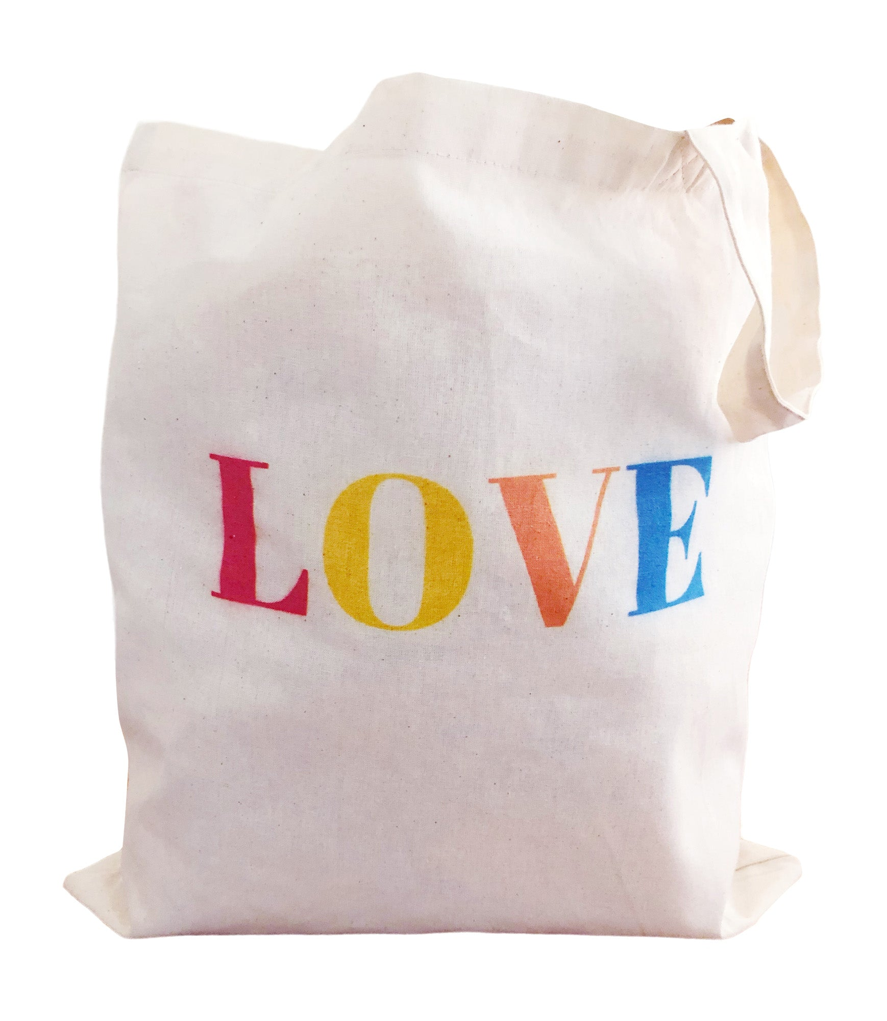Love Reusable Grocery Tote Bag Made of Lightweight Cotton Fabric