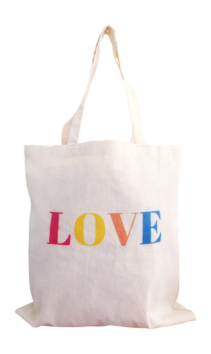 Love reusable grocery tote bag with dual handles