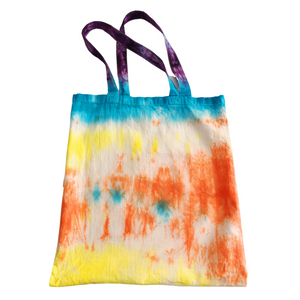 Peace Out Tie Dye Reusable Cotton Shopping Tote Bag