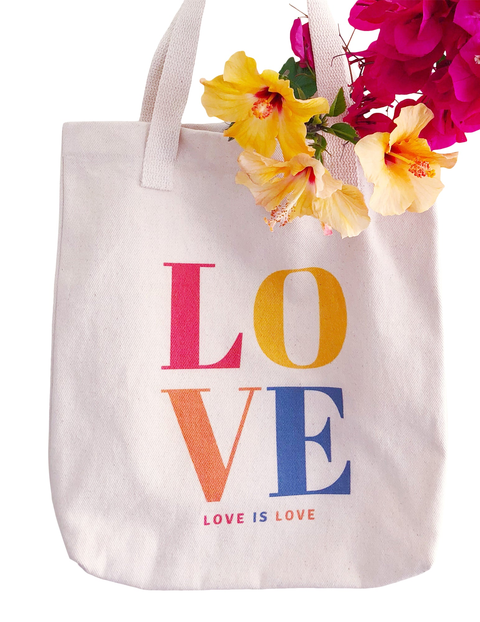 Love is Love Reusable Grocery Tote Bag Cotton Book Bag