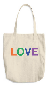 Sturdy cotton book bag the word love printed on the bag