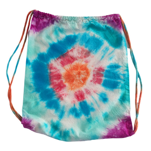 Boho Tie Dye Drawstring Backpack, Endless Summer Cotton Tote