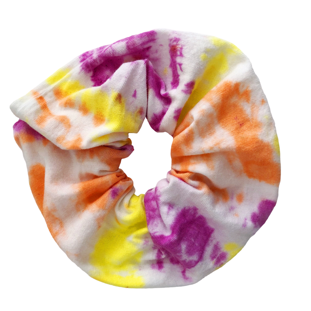 Tie Dye Scrunchie, Pink and Orange Ponytail Holder