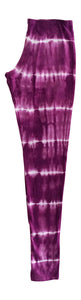 Women Leggings Burgundy Tie Dye
