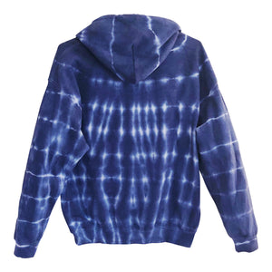 Unisex Adult Blue Tie Dye Pullover Back View