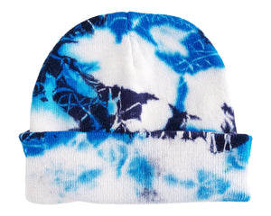 unisex adult black and blue tie dye beanie hat on white background