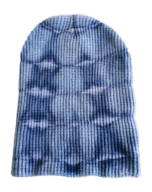 unisex adult beanie hat waffle weave fabric blue tie dye on white background