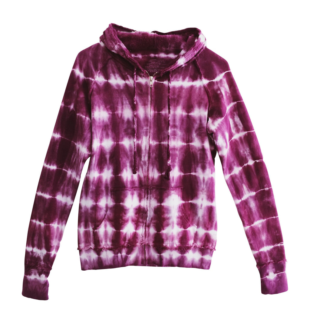 women burgundy tie dye hooded sweatshirt boho clothes