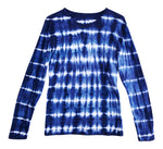 women long sleeved blue tie dye t shirt