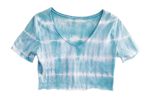 Petite Womans Crop Top Mint Tie Dye