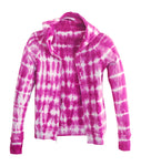 Womens Petite Pink Tie Dye Hoodie Full Zip Up