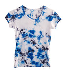 Womens Tee Short Sleeve V Neck Tie Dye