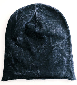 Petite adult and youth black beanie hat black mineral wash tie dye