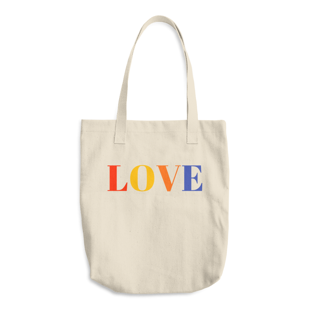 Reusable cotton grocery tote with handles love printed on bag