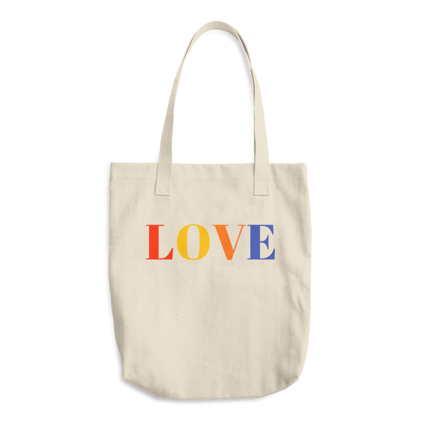 Reusable Grocery Tote Bag, Love in Bright Colors