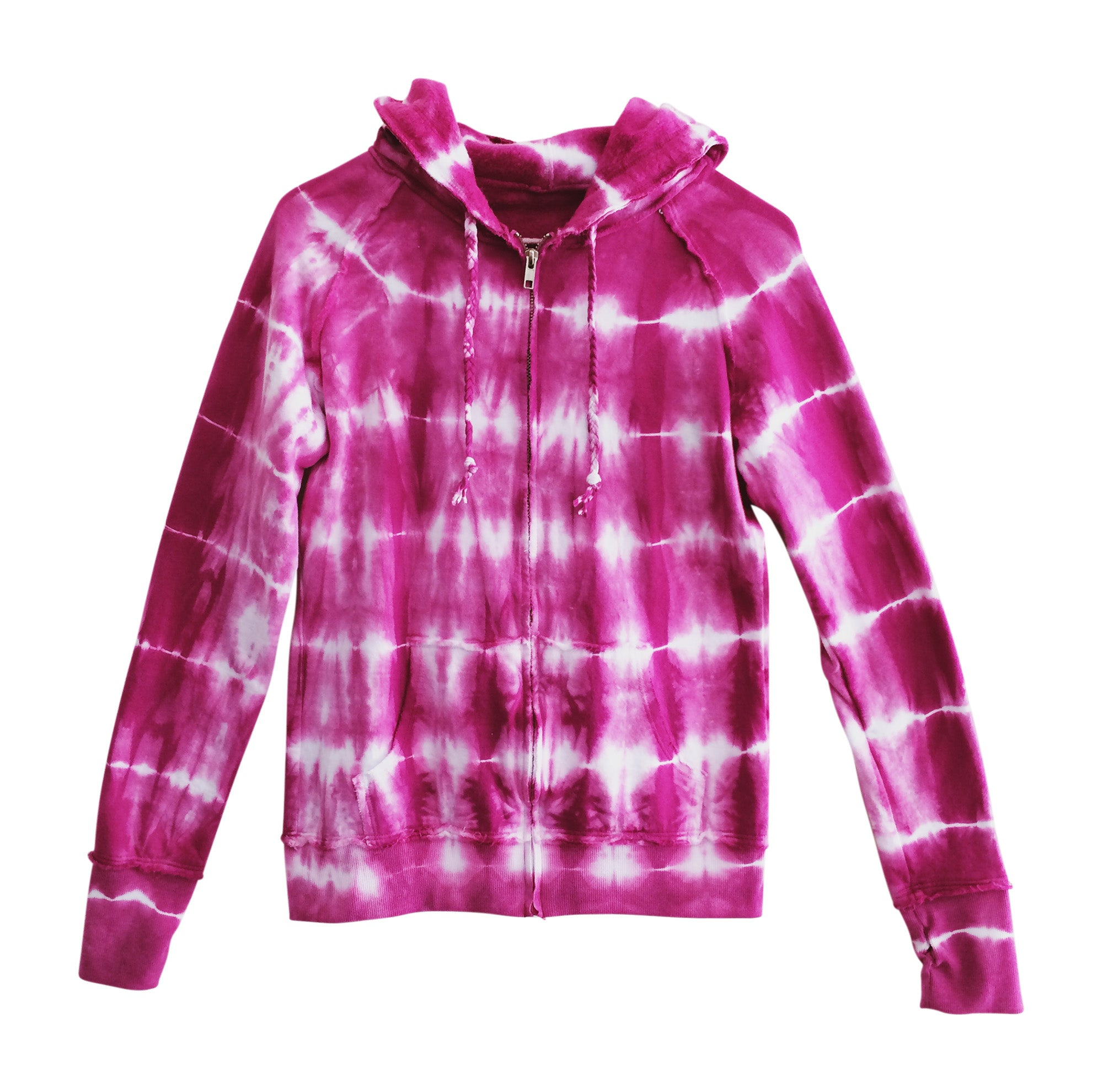 women pink tie dye zip up hooded sweatshirt yoga clothes