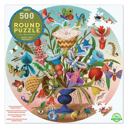 500 Piece Round Crazy Bug Bouquet Jigsaw Puzzle