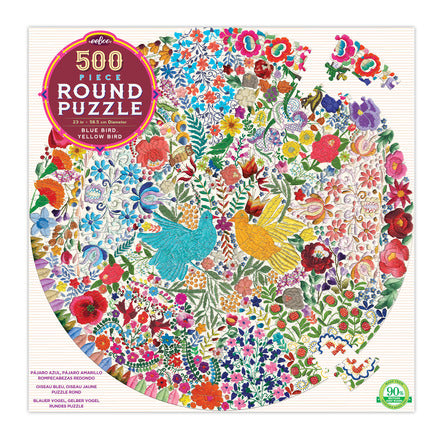 500 Piece Round Blue Bird Jigsaw Puzzle
